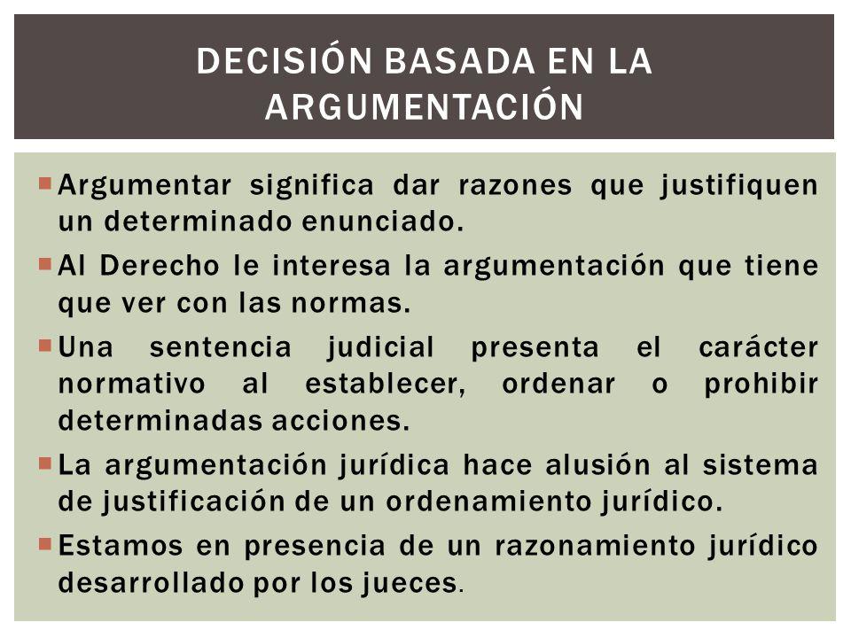 Argumentar significa dar razones que justifiquen un determinado enunciado. Al Derecho le interesa la argumentación que tiene que ver con las normas. U