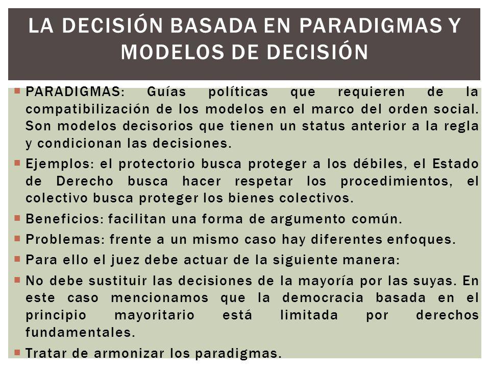 PARADIGMAS: Guías políticas que requieren de la compatibilización de los modelos en el marco del orden social. Son modelos decisorios que tienen un st