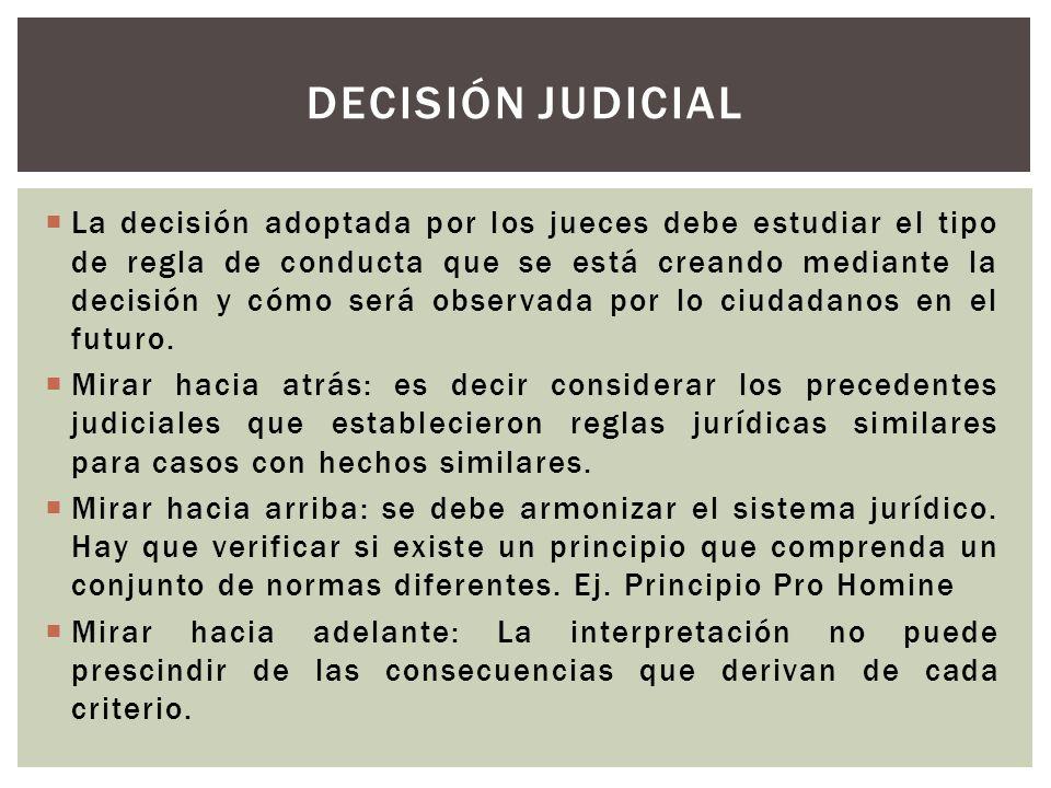La decisión adoptada por los jueces debe estudiar el tipo de regla de conducta que se está creando mediante la decisión y cómo será observada por lo c
