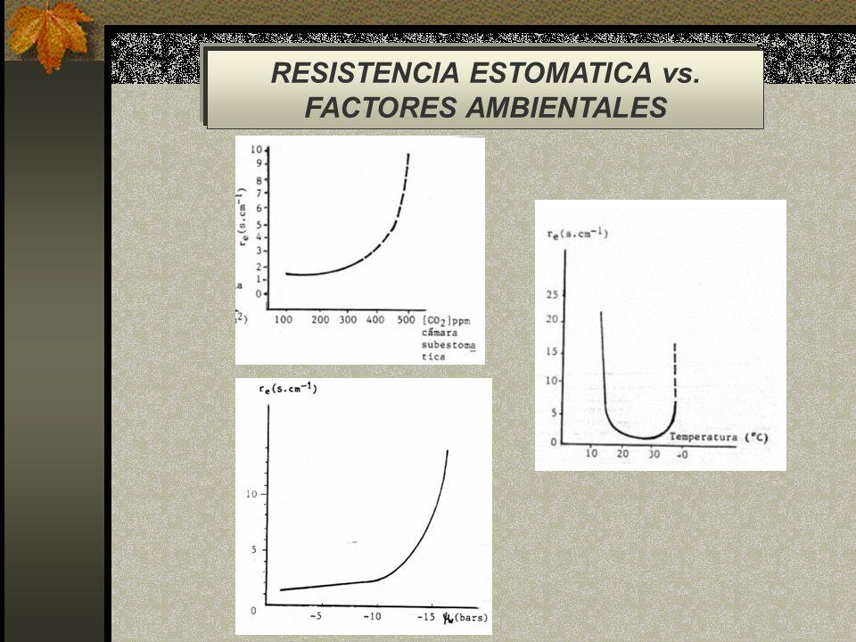 RESISTENCIA ESTOMATICA vs. FACTORES AMBIENTALES