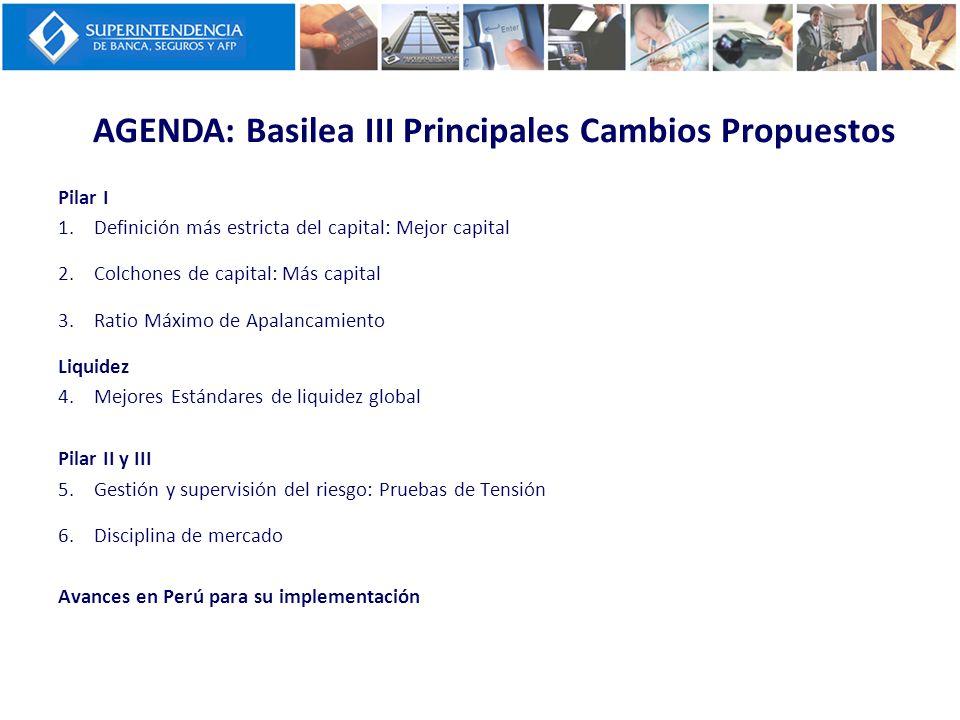 AGENDA: Basilea III Principales Cambios Propuestos Pilar I 1.Definición más estricta del capital: Mejor capital 2.Colchones de capital: Más capital 3.