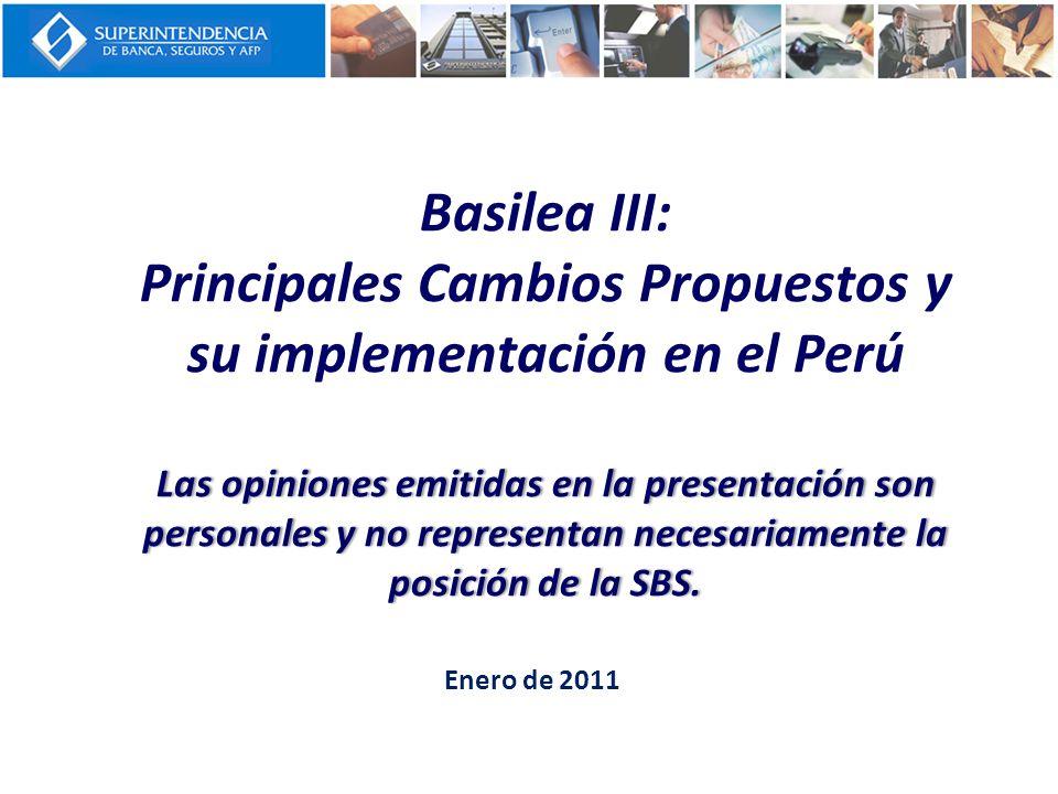 Las opiniones emitidas en la presentación son personales y no representan necesariamente la posición de la SBS. Basilea III: Principales Cambios Propu