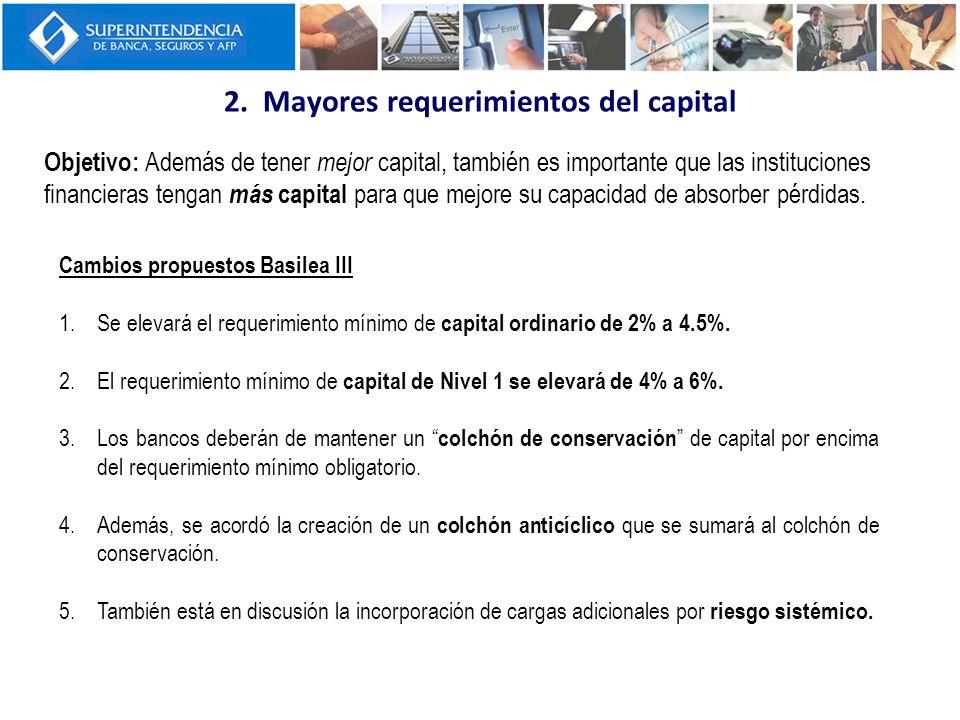 2. Mayores requerimientos del capital Objetivo: Además de tener mejor capital, también es importante que las instituciones financieras tengan más capi
