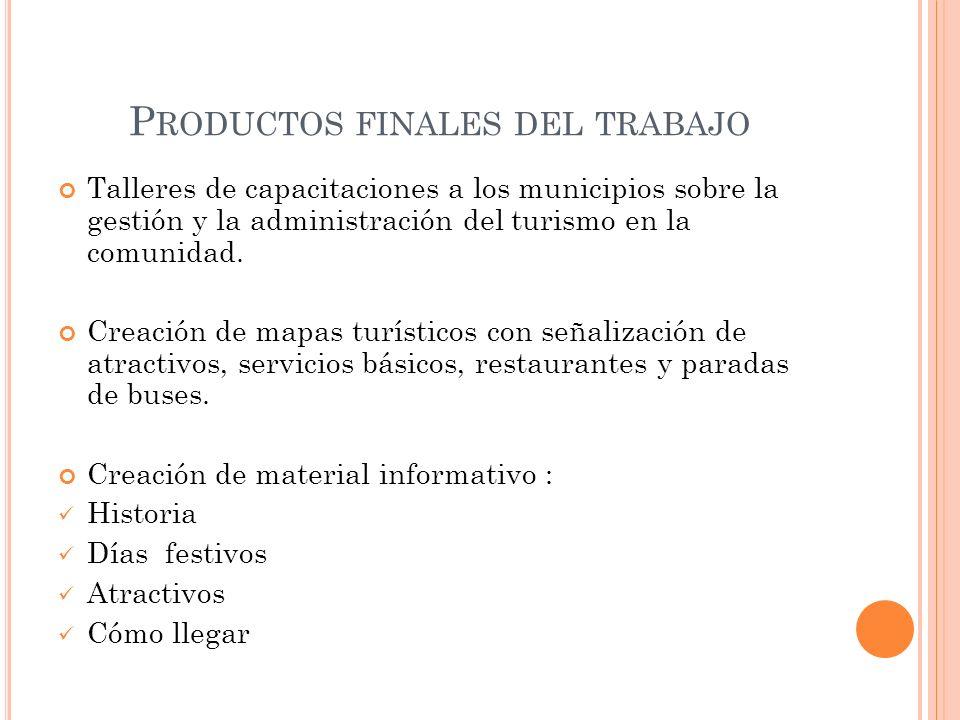 P RODUCTOS FINALES DEL TRABAJO Talleres de capacitaciones a los municipios sobre la gestión y la administración del turismo en la comunidad.