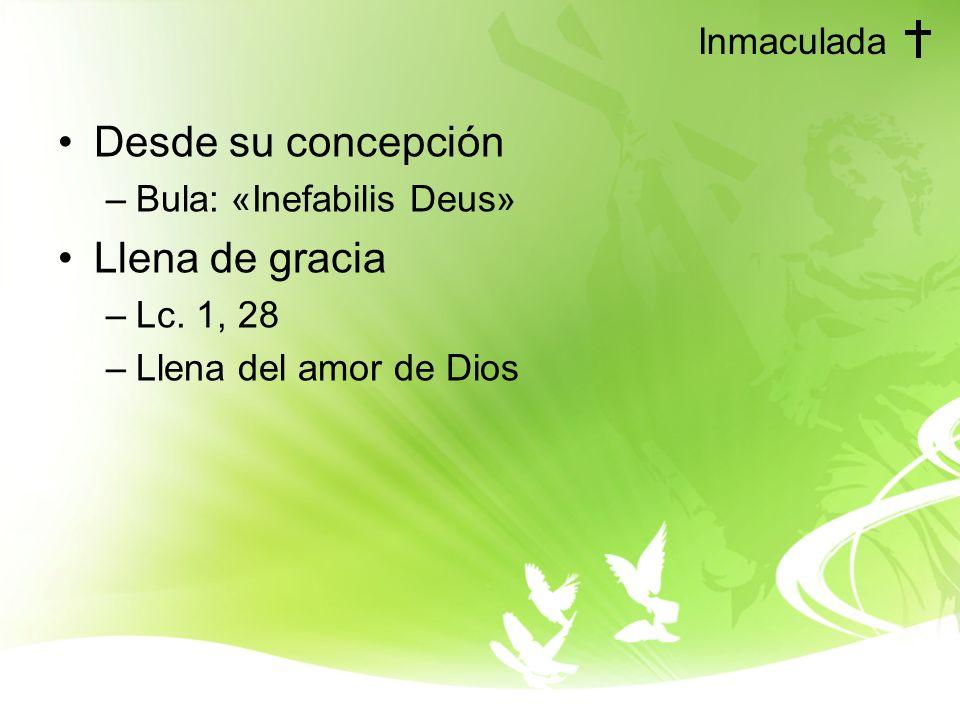 Inmaculada Desde su concepción –Bula: «Inefabilis Deus» Llena de gracia –Lc.