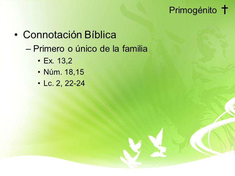 Primogénito Connotación Bíblica –Primero o único de la familia Ex. 13,2 Núm. 18,15 Lc. 2, 22-24