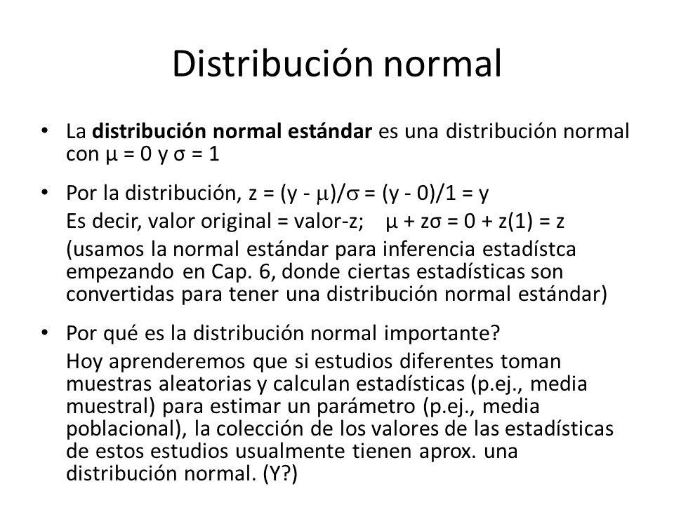 Distribución normal La distribución normal estándar es una distribución normal con µ = 0 y σ = 1 Por la distribución, z = (y - )/ = (y - 0)/1 = y Es decir, valor original = valor-z; µ + zσ = 0 + z(1) = z (usamos la normal estándar para inferencia estadístca empezando en Cap.