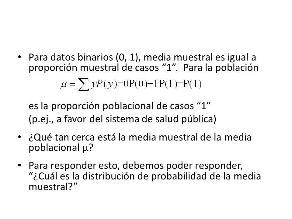 Para datos binarios (0, 1), media muestral es igual a proporción muestral de casos 1. Para la población es la proporción poblacional de casos 1 (p.ej.