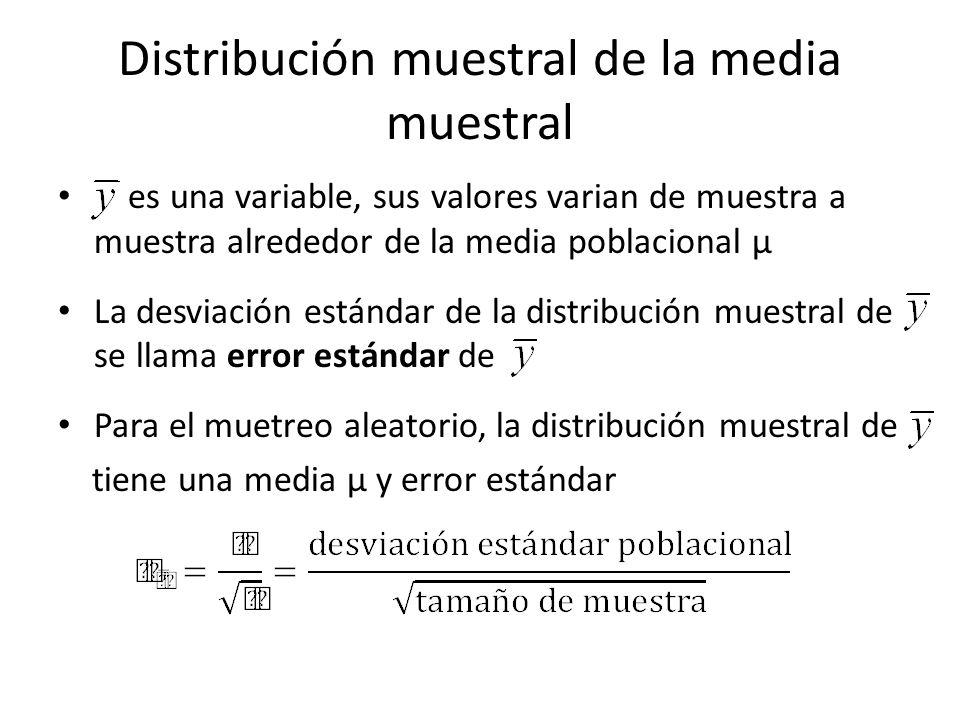 Distribución muestral de la media muestral es una variable, sus valores varian de muestra a muestra alrededor de la media poblacional µ La desviación estándar de la distribución muestral de se llama error estándar de Para el muetreo aleatorio, la distribución muestral de tiene una media µ y error estándar