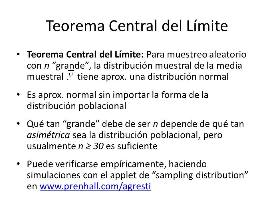 Teorema Central del Límite Teorema Central del Límite: Para muestreo aleatorio con n grande, la distribución muestral de la media muestral tiene aprox.
