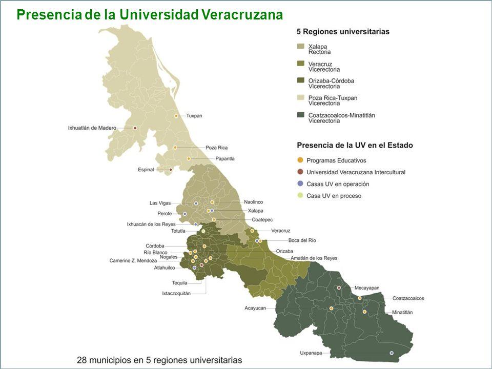 Universidad Veracruzana Numeralia 2010-2011 Población Universitaria Estudiantes71,176 Académicos6,029 Administrativos4,819 Total82,084 Infraestructura Edificios369