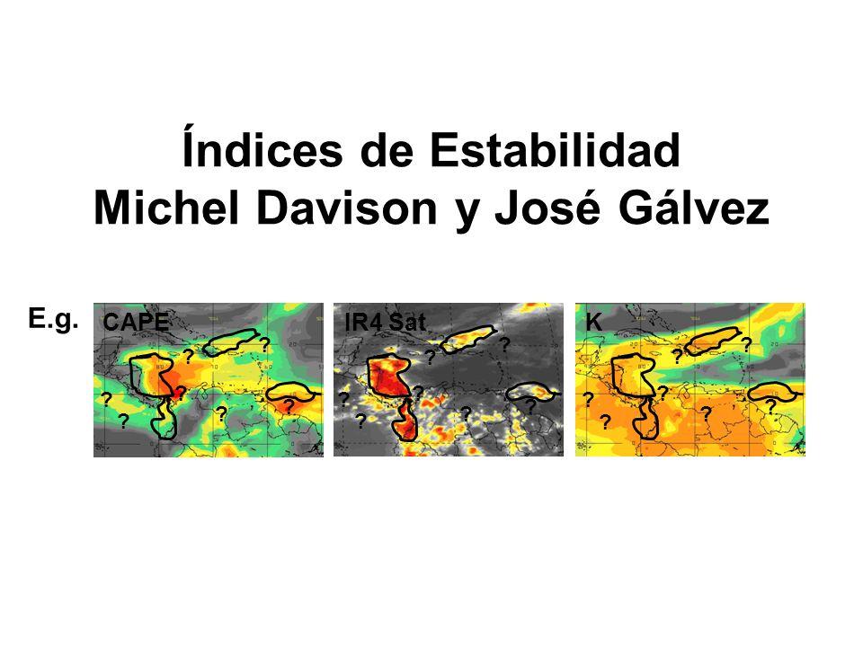 Valores de CAPE (en latitudes medias) Valor de CAPEPotencial de Convección 0 0-1000 1000-2500 2500-3500 3500+ Estable Marginalmente Inest.
