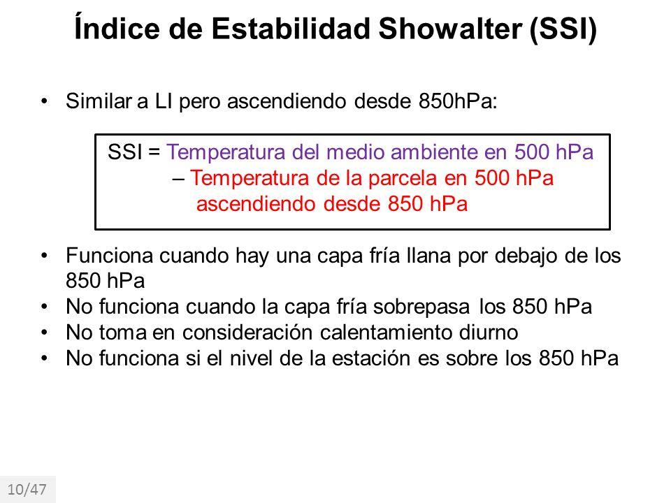 Similar a LI pero ascendiendo desde 850hPa: SSI = Temperatura del medio ambiente en 500 hPa – Temperatura de la parcela en 500 hPa ascendiendo desde 8