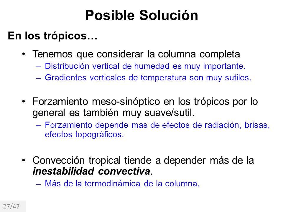 Posible Solución Tenemos que considerar la columna completa –Distribución vertical de humedad es muy importante. –Gradientes verticales de temperatura