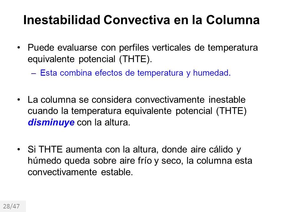 Inestabilidad Convectiva en la Columna Puede evaluarse con perfiles verticales de temperatura equivalente potencial (THTE). –Esta combina efectos de t