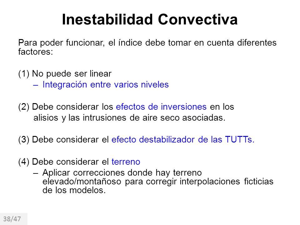 Inestabilidad Convectiva Para poder funcionar, el índice debe tomar en cuenta diferentes factores: (1) No puede ser linear –Integración entre varios n