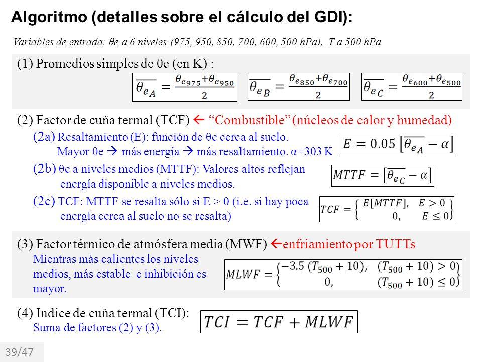 Algoritmo (detalles sobre el cálculo del GDI): Variables de entrada: θe a 6 niveles (975, 950, 850, 700, 600, 500 hPa), T a 500 hPa (1) Promedios simp