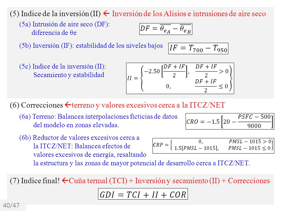 (5) Indice de la inversión (II) Inversión de los Alisios e intrusiones de aire seco (5a) Intrusión de aire seco (DF): diferencia de θe (6) Correccione