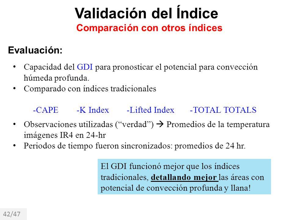 Evaluación: Capacidad del GDI para pronosticar el potencial para convección húmeda profunda. Comparado con índices tradicionales -CAPE -K Index -Lifte