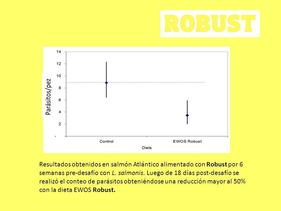 Resultados obtenidos en salmón Atlántico alimentado con Robust por 6 semanas pre-desafío con L. salmonis. Luego de 18 días post-desafío se realizó el