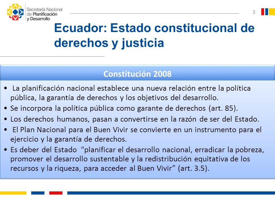 3 Ecuador: Estado constitucional de derechos y justicia Constitución 2008 La planificación nacional establece una nueva relación entre la política púb