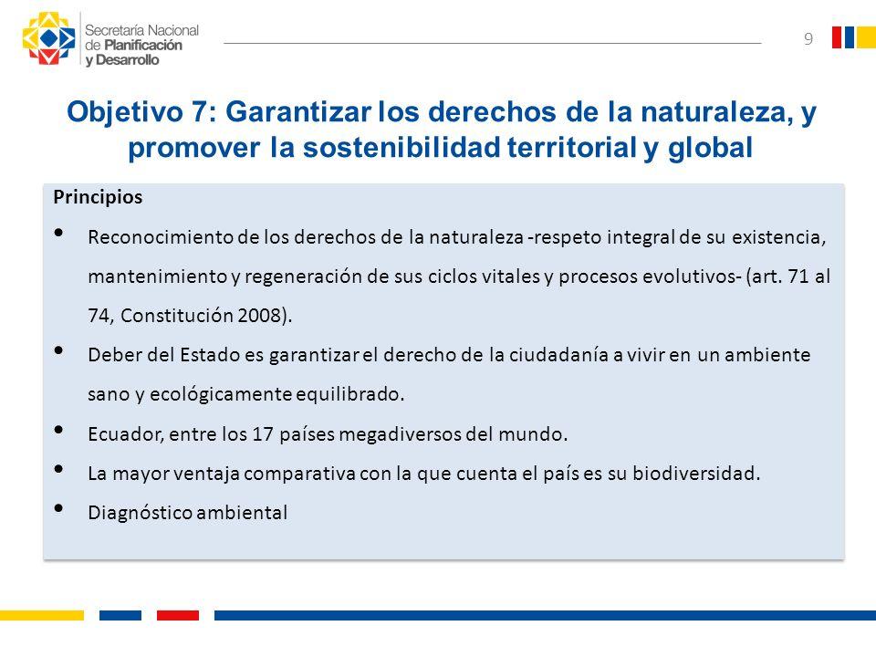 Objetivo 7: Garantizar los derechos de la naturaleza, y promover la sostenibilidad territorial y global Principios Reconocimiento de los derechos de l