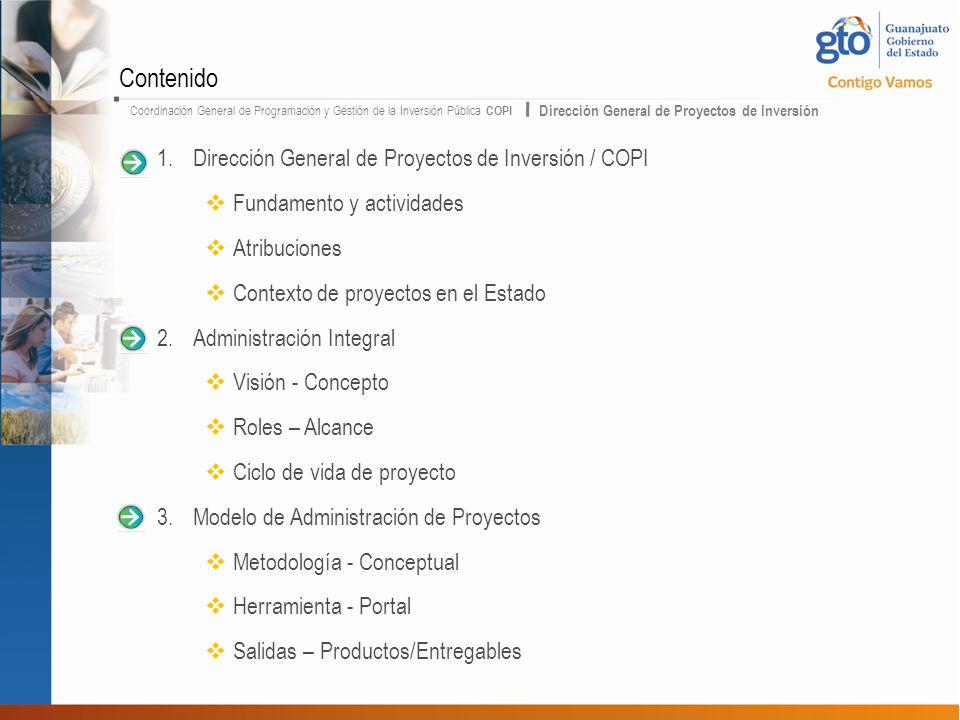 Coordinación General de Programación y Gestión de la Inversión Pública COPI Dirección General de Proyectos de Inversión 1.Dirección General de Proyect