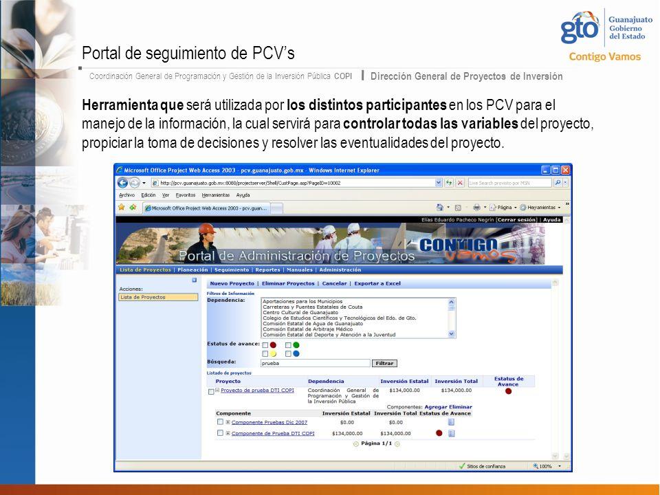 Coordinación General de Programación y Gestión de la Inversión Pública COPI Dirección General de Proyectos de Inversión Herramienta que será utilizada por los distintos participantes en los PCV para el manejo de la información, la cual servirá para controlar todas las variables del proyecto, propiciar la toma de decisiones y resolver las eventualidades del proyecto.