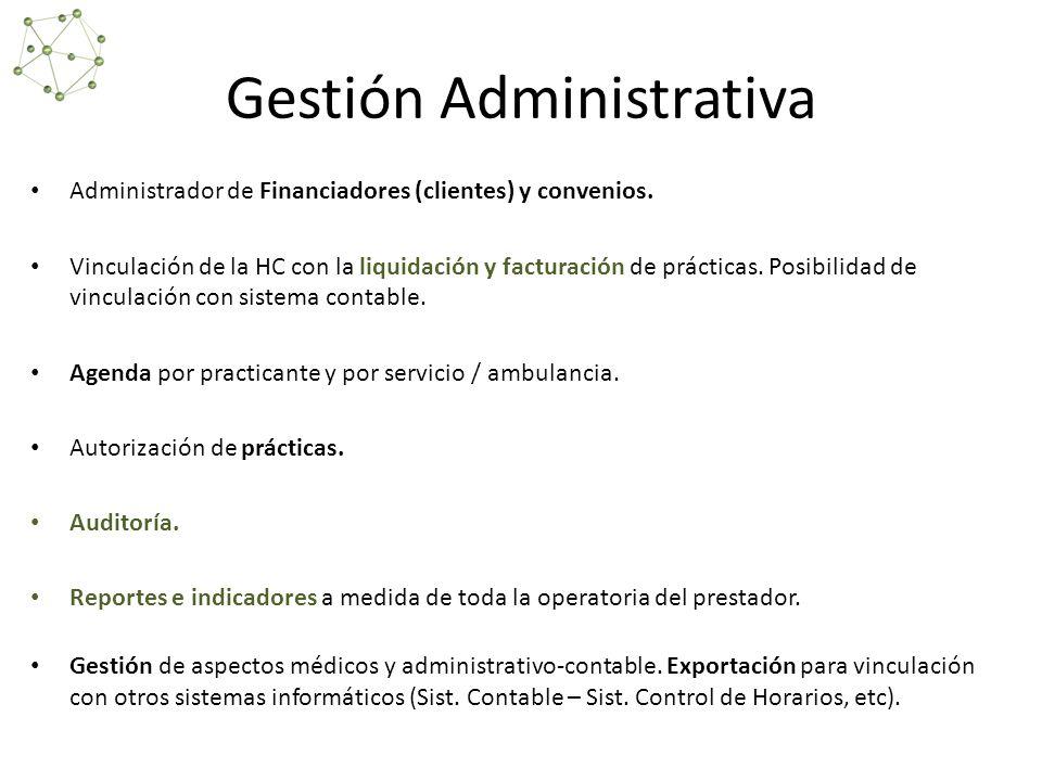 Gestión Administrativa Administrador de Financiadores (clientes) y convenios.