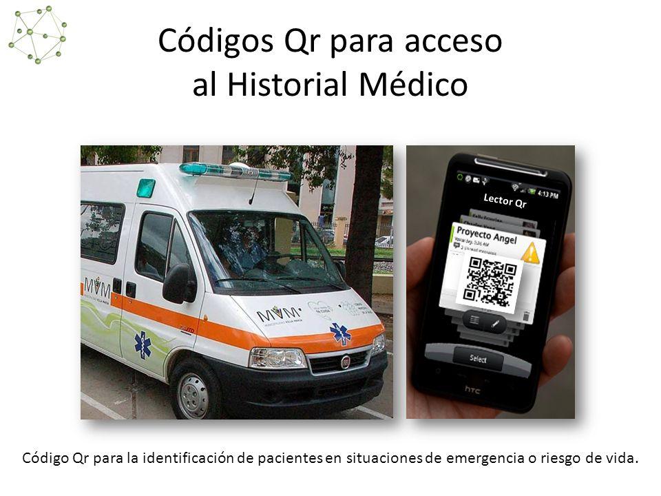 Códigos Qr para acceso al Historial Médico Lector Qr Código Qr para la identificación de pacientes en situaciones de emergencia o riesgo de vida.