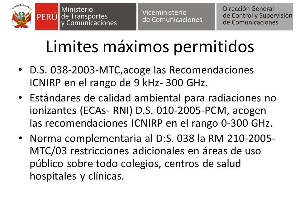 Limites máximos permitidos D.S. 038-2003-MTC,acoge las Recomendaciones ICNIRP en el rango de 9 kHz- 300 GHz. Estándares de calidad ambiental para radi