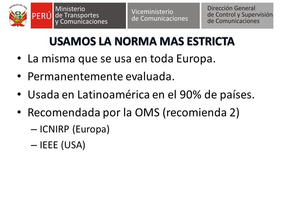 La misma que se usa en toda Europa. Permanentemente evaluada. Usada en Latinoamérica en el 90% de países. Recomendada por la OMS (recomienda 2) – ICNI