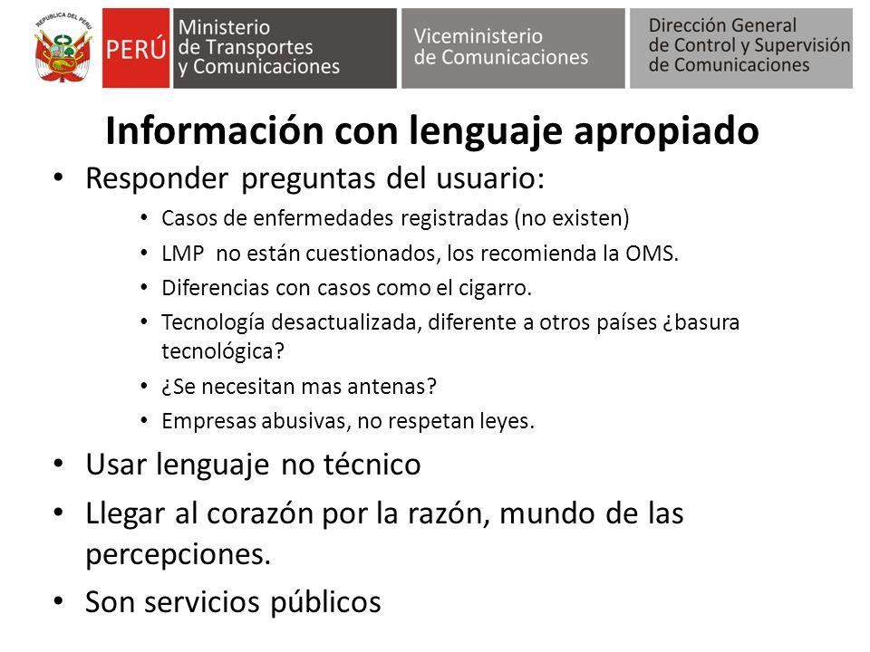 Información con lenguaje apropiado Responder preguntas del usuario: Casos de enfermedades registradas (no existen) LMP no están cuestionados, los reco