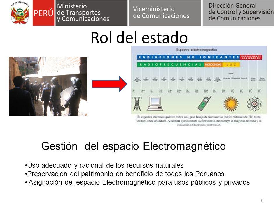 Rol del estado 6 Gestión del espacio Electromagnético Uso adecuado y racional de los recursos naturales Preservación del patrimonio en beneficio de to
