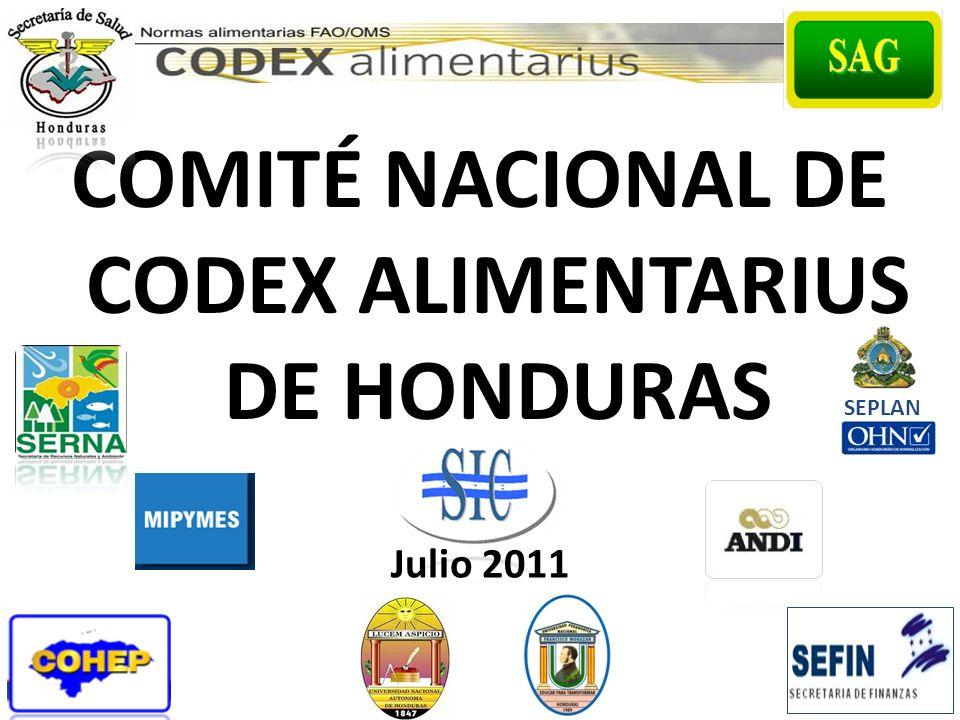 COMITÉ NACIONAL DE CODEX ALIMENTARIUS DE HONDURAS Julio 2011 SEPLAN