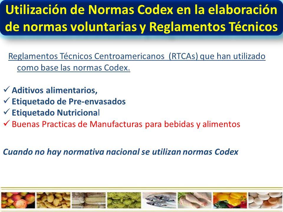 Utilización de Normas Codex en la elaboración de normas voluntarias y Reglamentos Técnicos Reglamentos Técnicos Centroamericanos (RTCAs) que han utilizado como base las normas Codex.