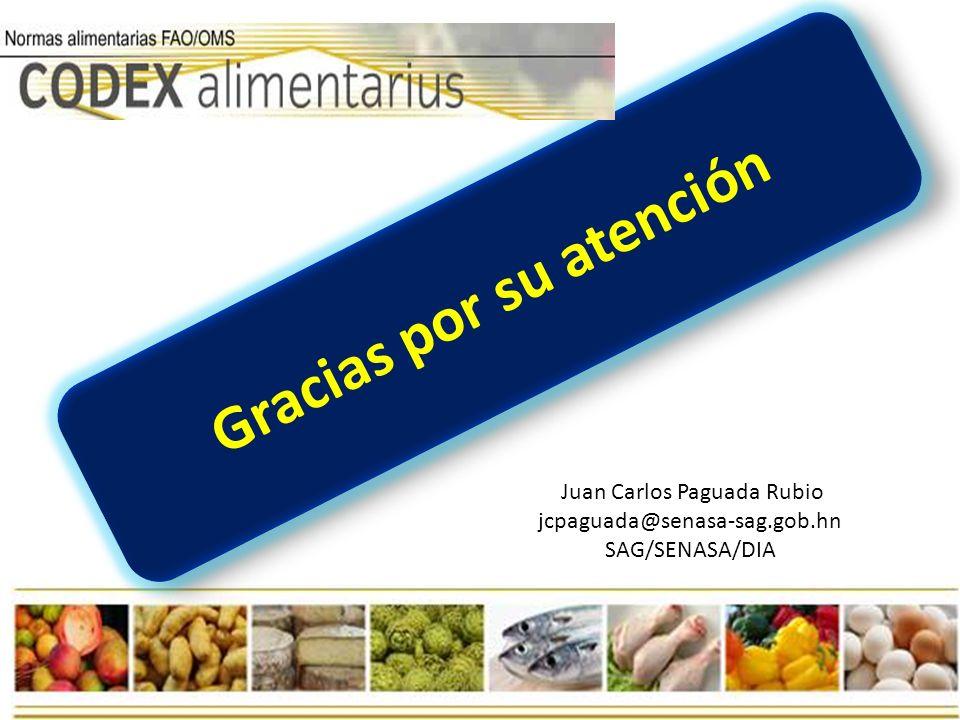 Gracias por su atención Juan Carlos Paguada Rubio jcpaguada@senasa-sag.gob.hn SAG/SENASA/DIA