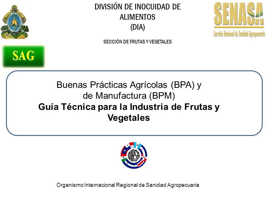 DIVISIÓN DE INOCUIDAD DE ALIMENTOS (DIA) SECCIÓN DE FRUTAS Y VEGETALES Buenas Prácticas Agrícolas (BPA) y de Manufactura (BPM) Guía Técnica para la Industria de Frutas y Vegetales Organismo Internacional Regional de Sanidad Agropecuaria