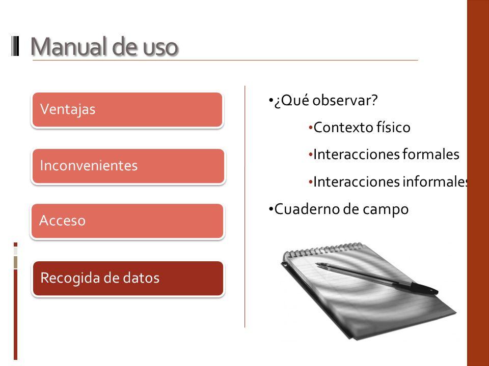Ventajas Inconvenientes Acceso Recogida de datos Manual de uso ¿Qué observar? Contexto físico Interacciones formales Interacciones informale s Cuadern