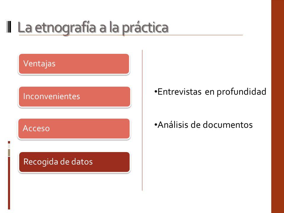 Ventajas Inconvenientes Acceso Recogida de datos La etnografía a la práctica Entrevistas en profundidad Análisis de documentos