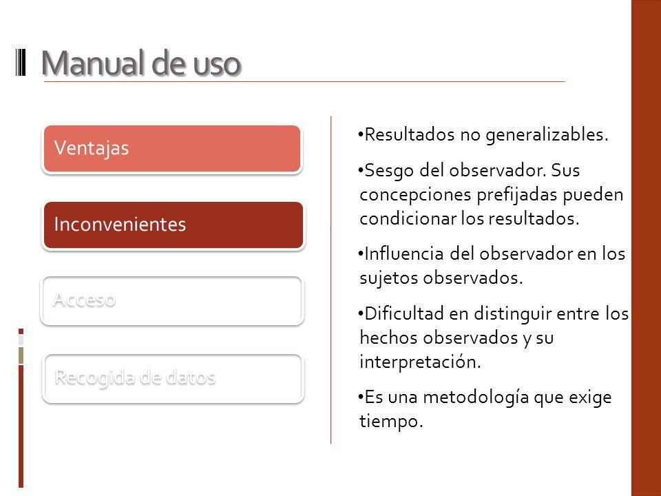 Ventajas Inconvenientes Acceso Recogida de datos Manual de uso Resultados no generalizables. Sesgo del observador. Sus concepciones prefijadas pueden