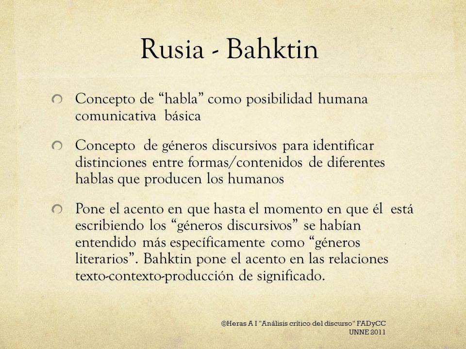 Rusia - Bahktin Concepto de habla como posibilidad humana comunicativa básica Concepto de géneros discursivos para identificar distinciones entre form