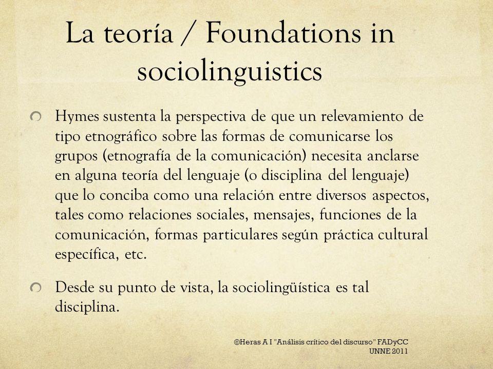 La teoría / Foundations in sociolinguistics Hymes sustenta la perspectiva de que un relevamiento de tipo etnográfico sobre las formas de comunicarse l