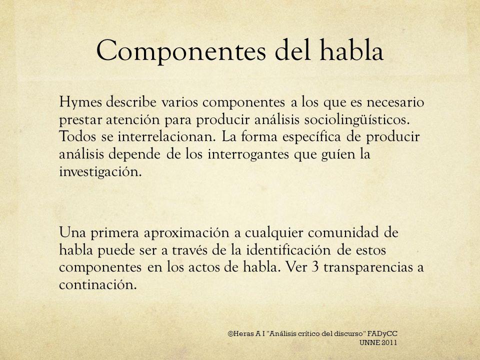 Componentes del habla Hymes describe varios componentes a los que es necesario prestar atención para producir análisis sociolingüísticos. Todos se int