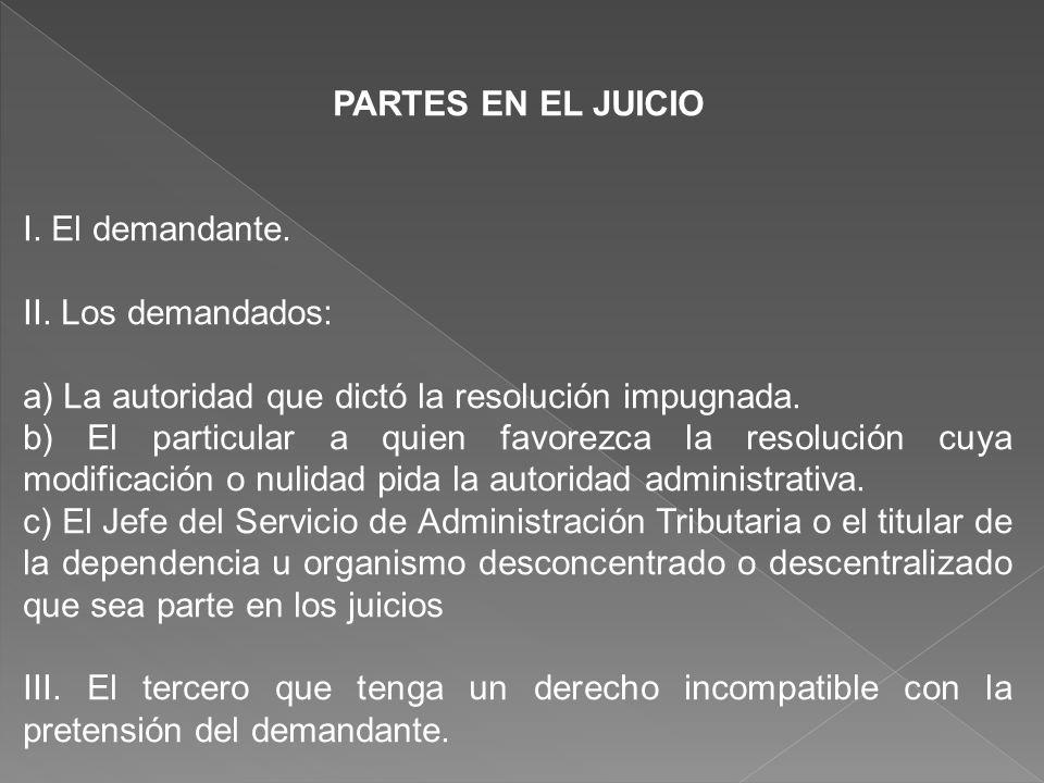 PARTES EN EL JUICIO I. El demandante. II. Los demandados: a) La autoridad que dictó la resolución impugnada. b) El particular a quien favorezca la res