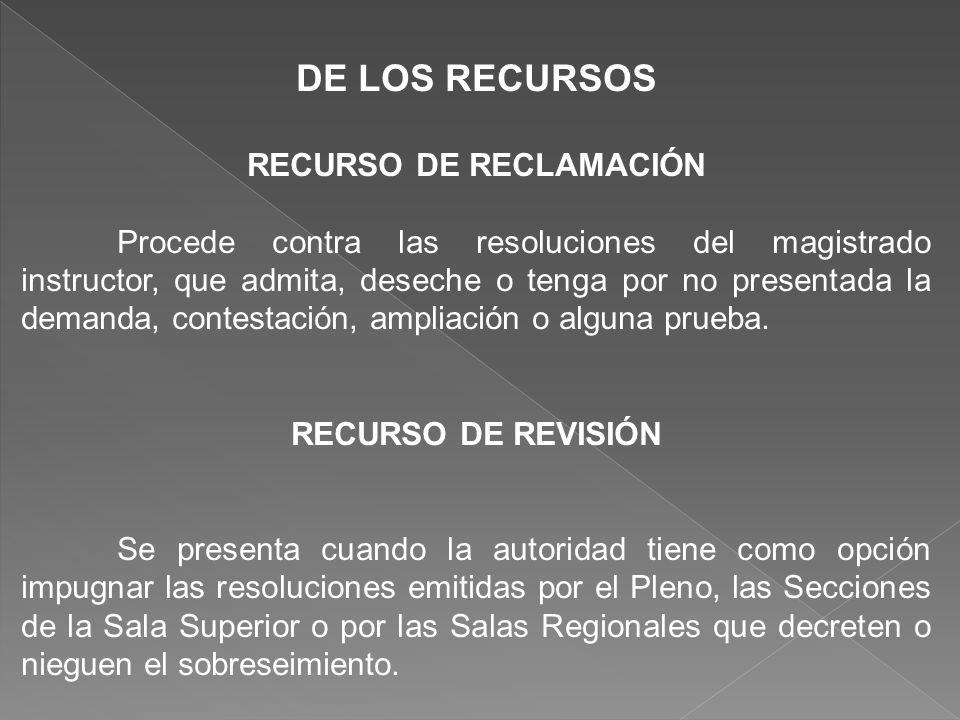 DE LOS RECURSOS RECURSO DE RECLAMACIÓN Procede contra las resoluciones del magistrado instructor, que admita, deseche o tenga por no presentada la dem