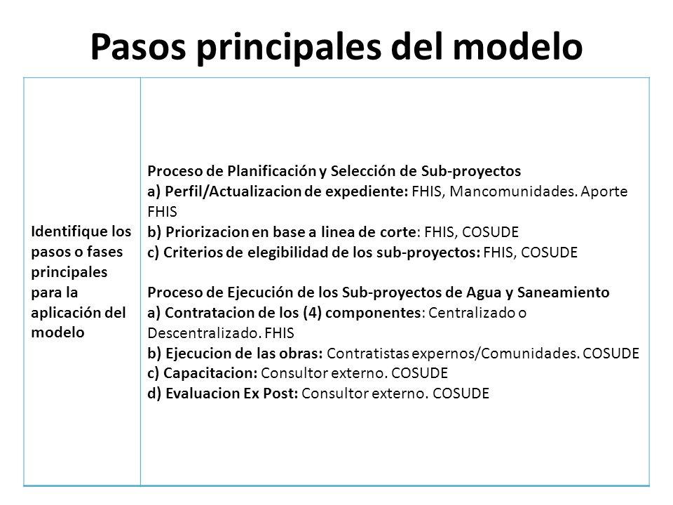 Pasos principales del modelo Identifique los pasos o fases principales para la aplicación del modelo Proceso de Planificación y Selección de Sub-proye