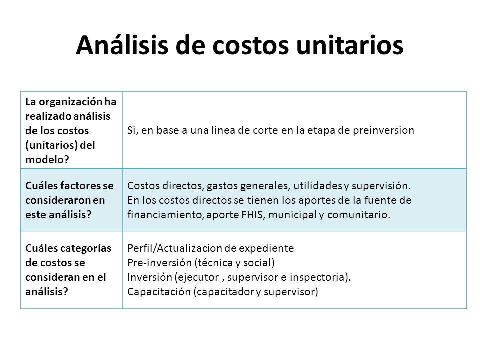 Análisis de costos unitarios La organización ha realizado análisis de los costos (unitarios) del modelo? Si, en base a una linea de corte en la etapa
