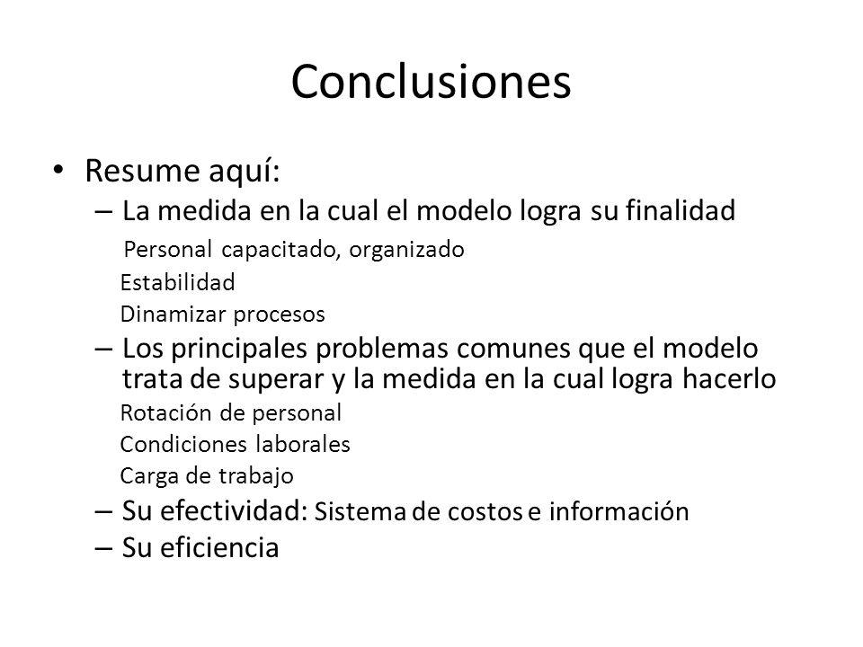Conclusiones Resume aquí: – La medida en la cual el modelo logra su finalidad Personal capacitado, organizado Estabilidad Dinamizar procesos – Los pri
