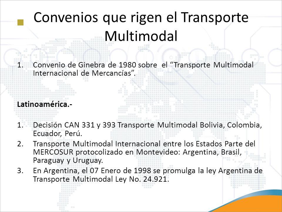 Convenios que rigen el Transporte Multimodal 1.Convenio de Ginebra de 1980 sobre el Transporte Multimodal Internacional de Mercancías. Latinoamérica.-